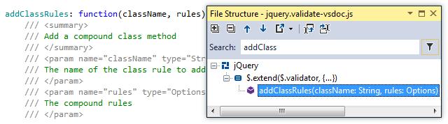 ReSharper by Language JavaScript Navigation File Structure xml docs