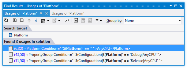 ReSharper by Language MSBuild Find Usages