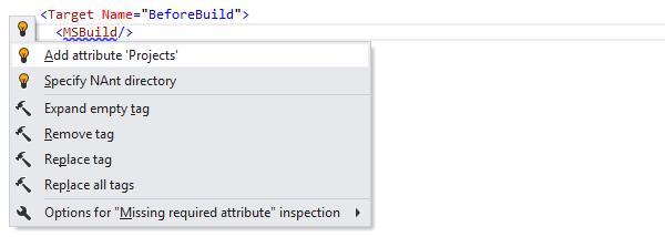 ReSharper by Language MSBuild Quick Fixes add attribute 01