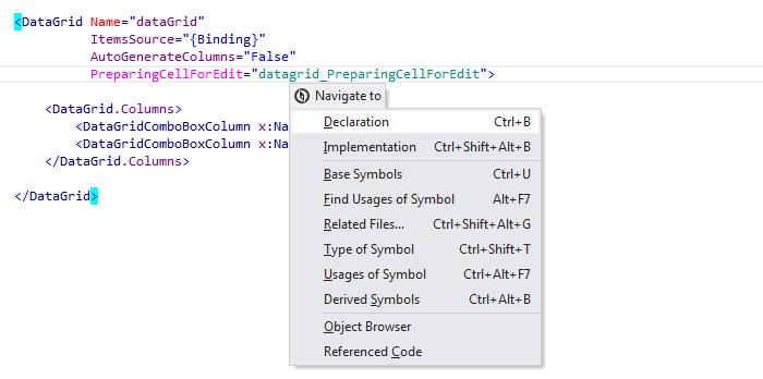ReSharper by Language XAML Navigation Go to Declaration