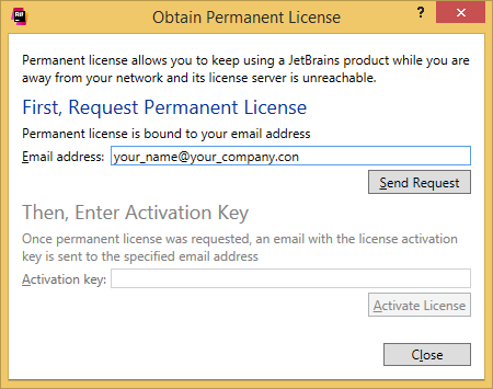 ReSharper. 'Obtain Permanent License' dialog