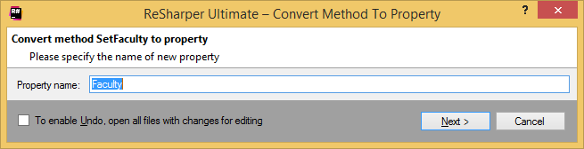 Refactorings Convert Method to Property dialog box