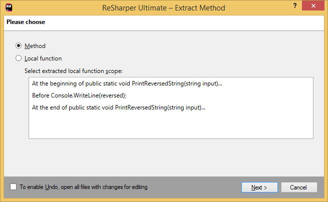 ReSharper. Extract Method refactoring: choosing between method and local function