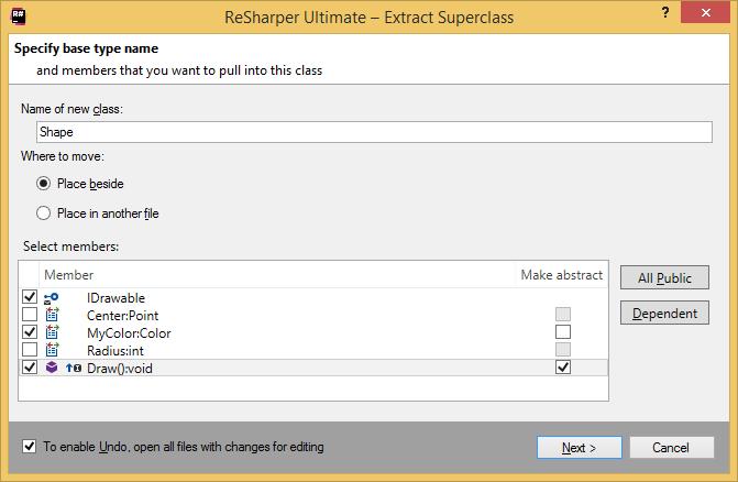 ReSharper. Extract Superclass (Base class) refactoring