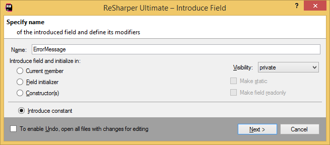 ReSharper. Introduce Field refactoring