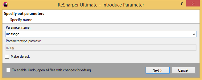 Refactorings Introduce Parameter dialog box