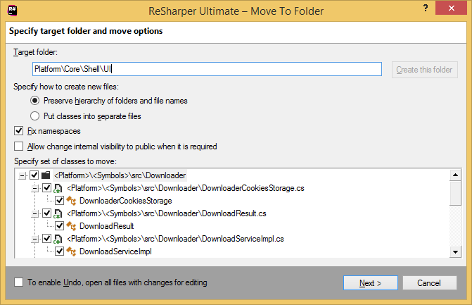 ReSharper. Move to Folder refactoring