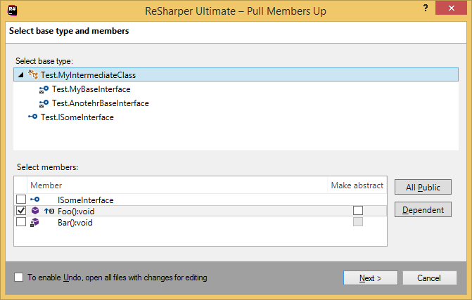 ReSharper. Pull Members Up refactoring