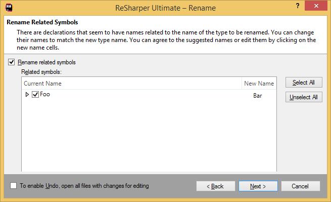 ReSharper: Rename refactoring