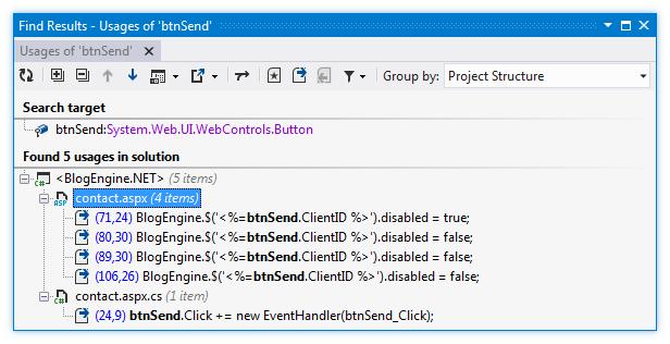 Web Development Navigation Find Usages