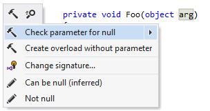 ReSharper: Checking parameter for null
