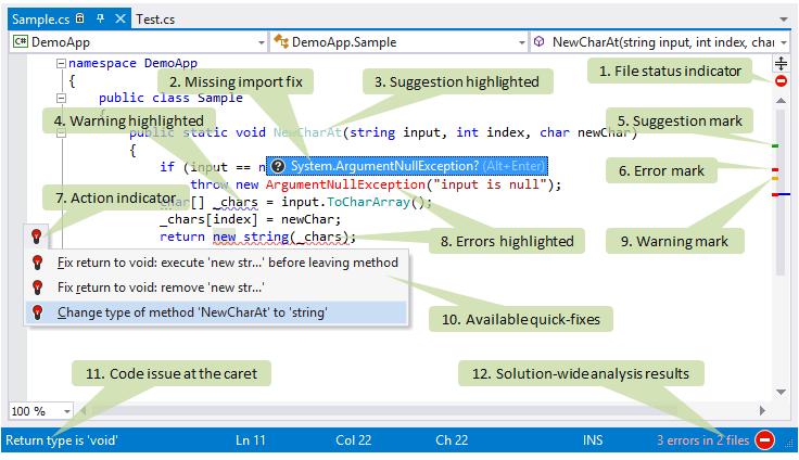 ReSharper features in Visual Studio editor