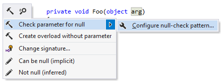 ReSharper: a shortcut for configuring null-check pattern