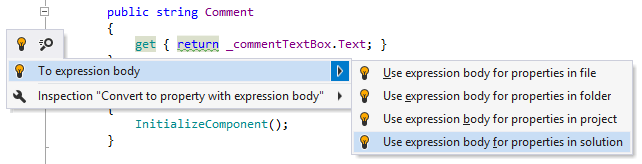 ReSharper helps implement new C# features