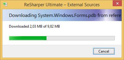 ReSharper is downloading sources from symbol server