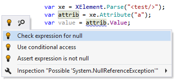 ReSharper suggests to automatically do a null check on the variable