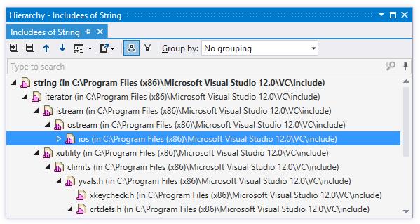 Hierarchy of C++ includes