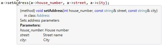 Code element tooltip in C++