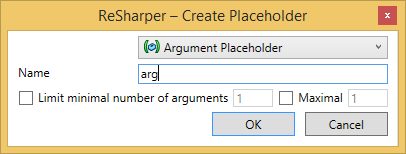 create argument placeholder