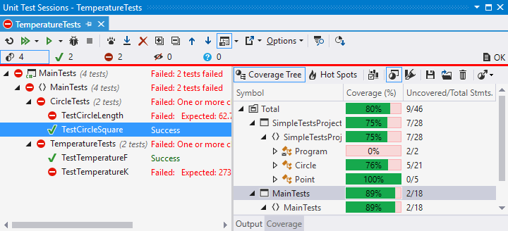 dotCover unit test sessions