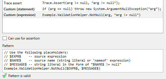 JetBrains Rider: custom patterns for null checking