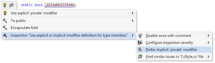 Changing the preference for explicit/implicit 'private' modifiers in the editor
