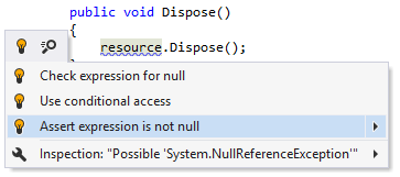 ReSharper: Asserting expression for null