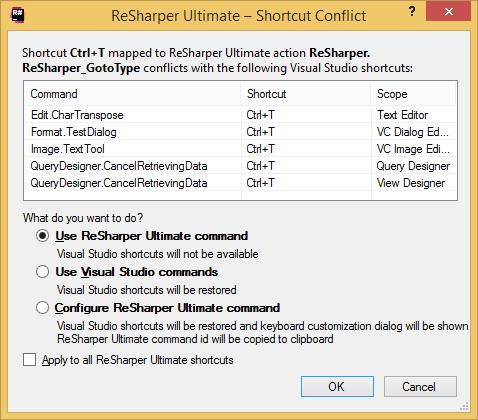 Shortcut conflict dialog