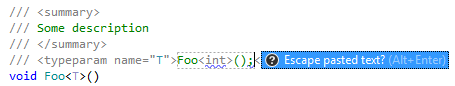 JetBrains Rider automatically escapes angle brackets in pasted string.