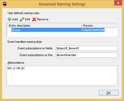Coding Assistance Naming Style Options Advanced Settings