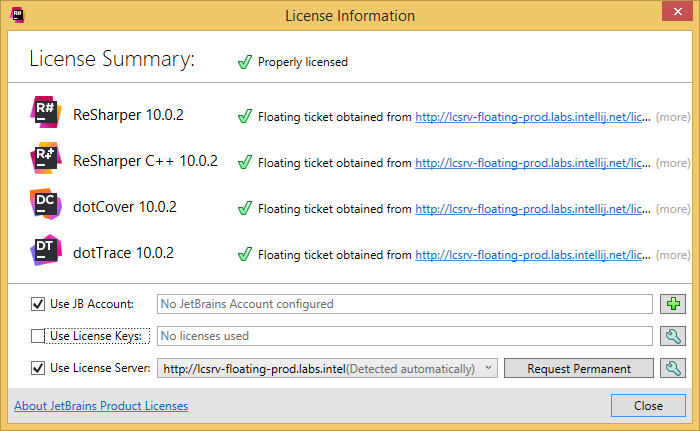 dotCover 'License Information' dialog
