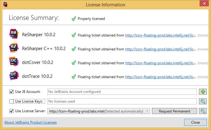 dotTrace 'License Information' dialog