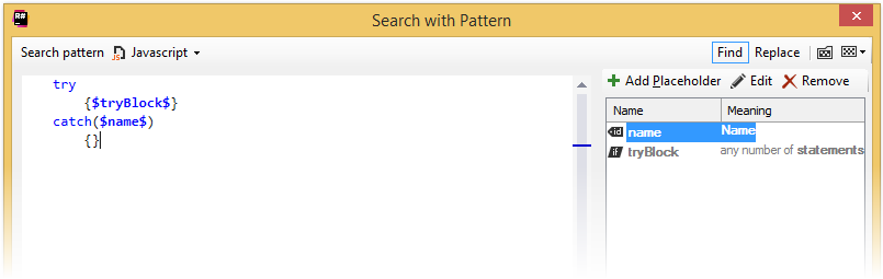 ReSharper by Language JavaScript Search with Pattern
