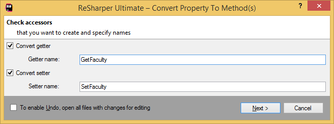 Converting a property to methods with a ReSharper's refactoring