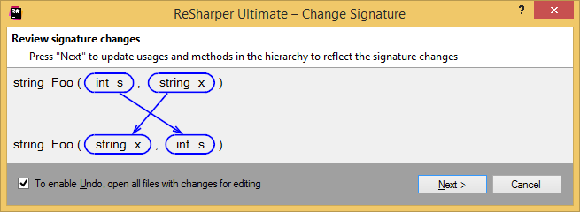 Applying the Change Signature refactoring inline