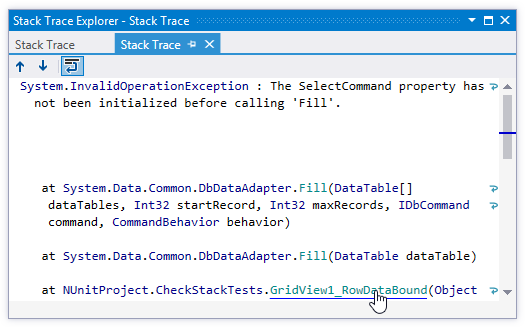 Navigating from stack trace to exception
