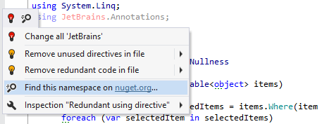 A quick-fix that automatically fetches JetBrains.Annotations package from NuGet