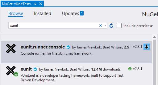 install xunit console