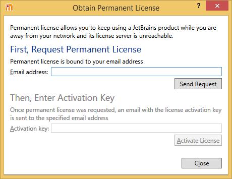 dotMemory. 'Obtain Permanent License' dialog