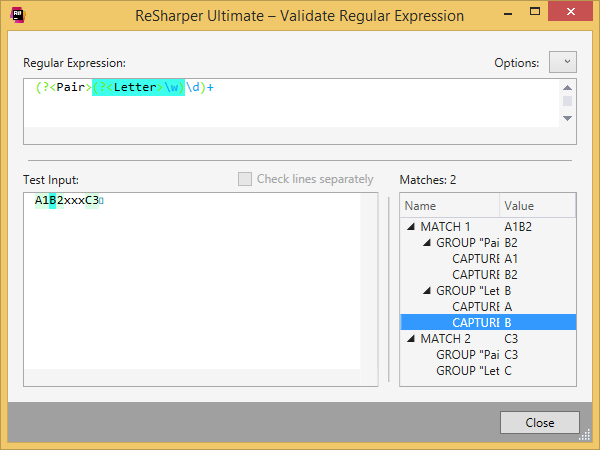 Validate Regular Expression window