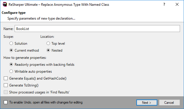 Replace Anonymous Type with Named Class