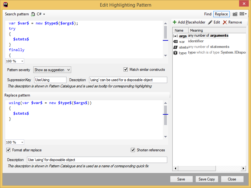 Edit Highlighting Pattern dialog