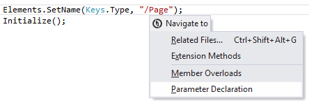 Navigation and Search Navigating to Parameter Declaration 01