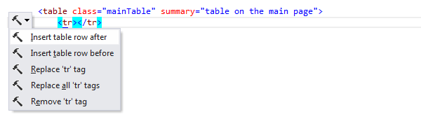 ReSharper by Language HTML Context Actions insert table row 01