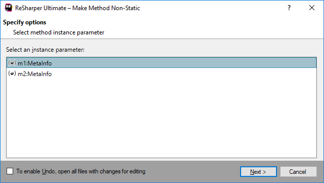 Refactorings Make Method Non Static dialog box