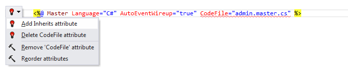Web Development Quick Fixes add inherits attribute 01