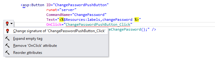 Web Development Quick Fixes change signature 02