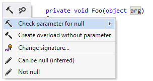 ReSharper: Checking parameter for null