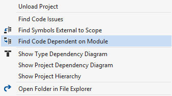 ReSharper helps find code dependent on a project or a referenced assembly