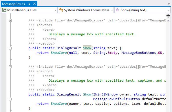 ReSharper displays .NET Framework sources from symbol server